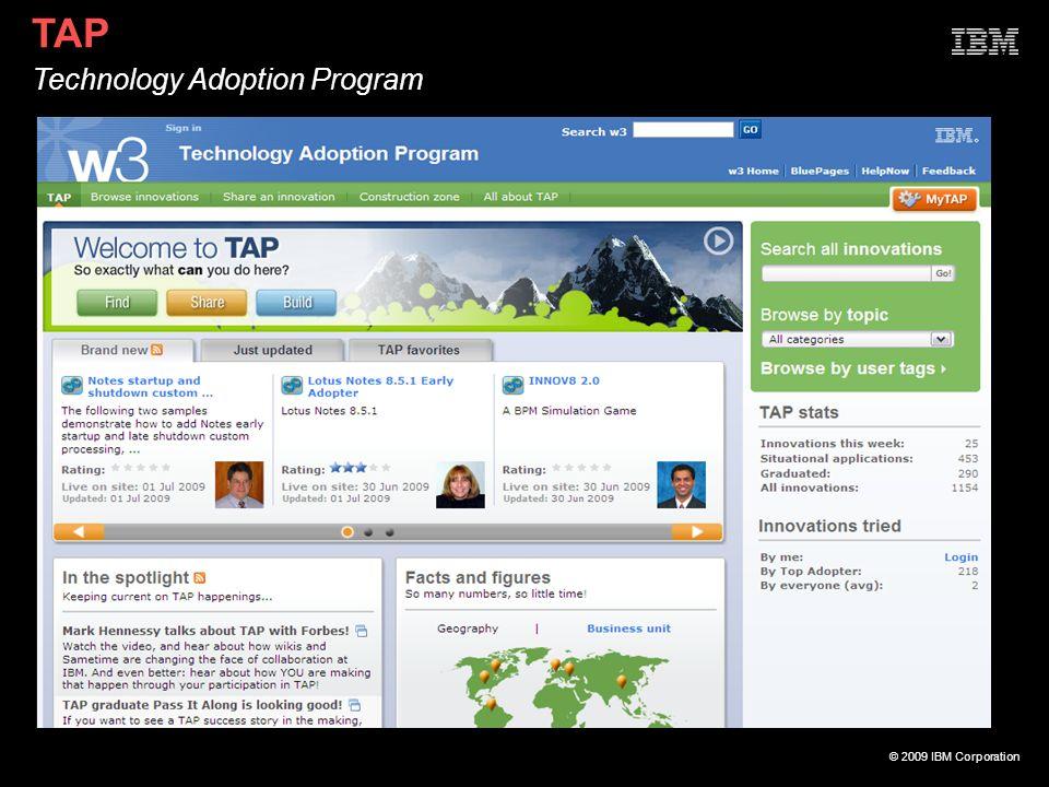 © 2009 IBM Corporation TAP Technology Adoption Program