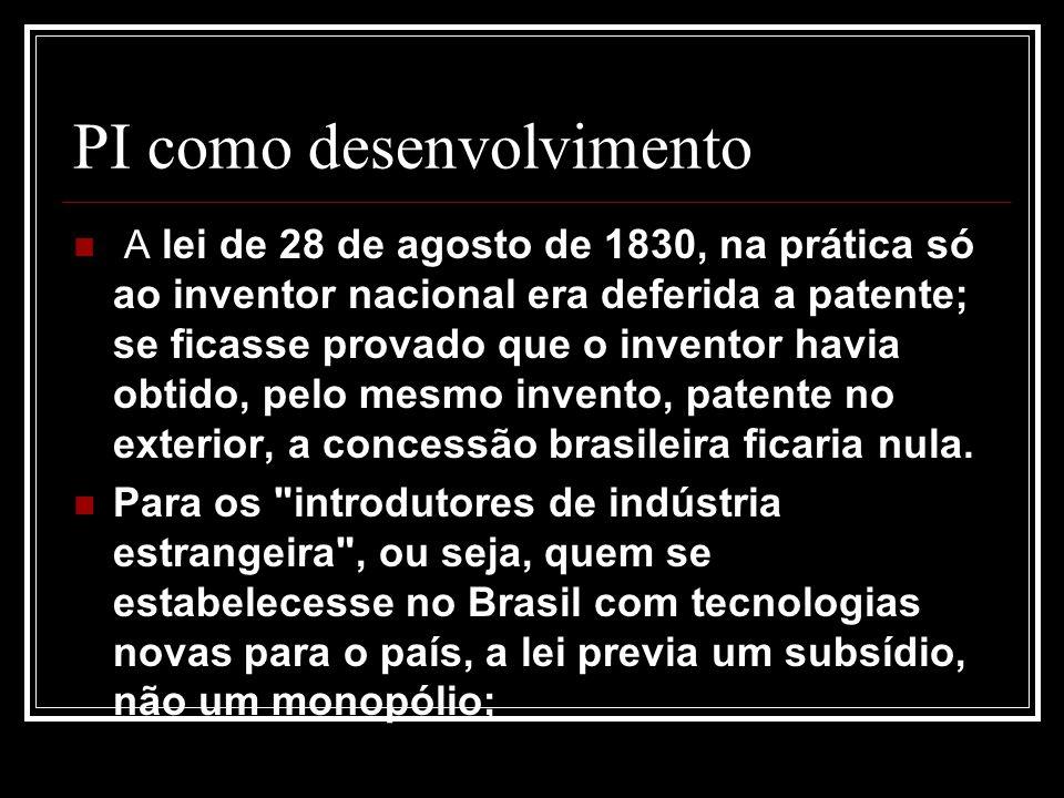 PI como desenvolvimento A lei de 28 de agosto de 1830, na prática só ao inventor nacional era deferida a patente; se ficasse provado que o inventor havia obtido, pelo mesmo invento, patente no exterior, a concessão brasileira ficaria nula.