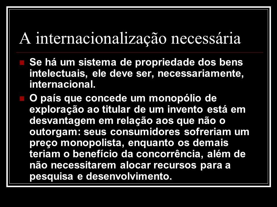 A internacionalização necessária Se há um sistema de propriedade dos bens intelectuais, ele deve ser, necessariamente, internacional. O país que conce