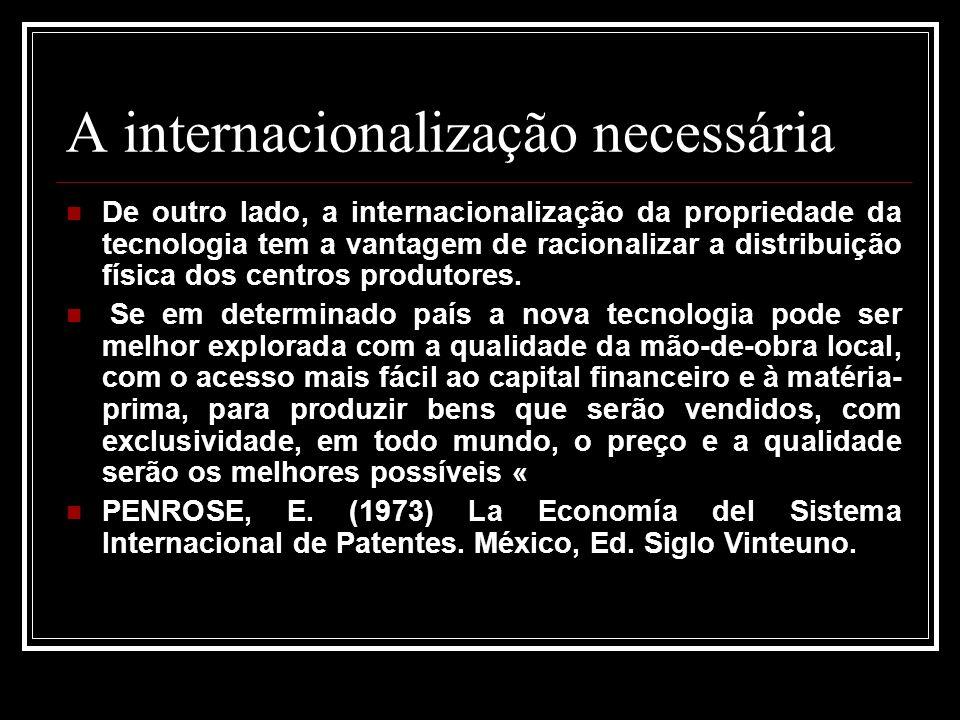 A internacionalização necessária De outro lado, a internacionalização da propriedade da tecnologia tem a vantagem de racionalizar a distribuição físic