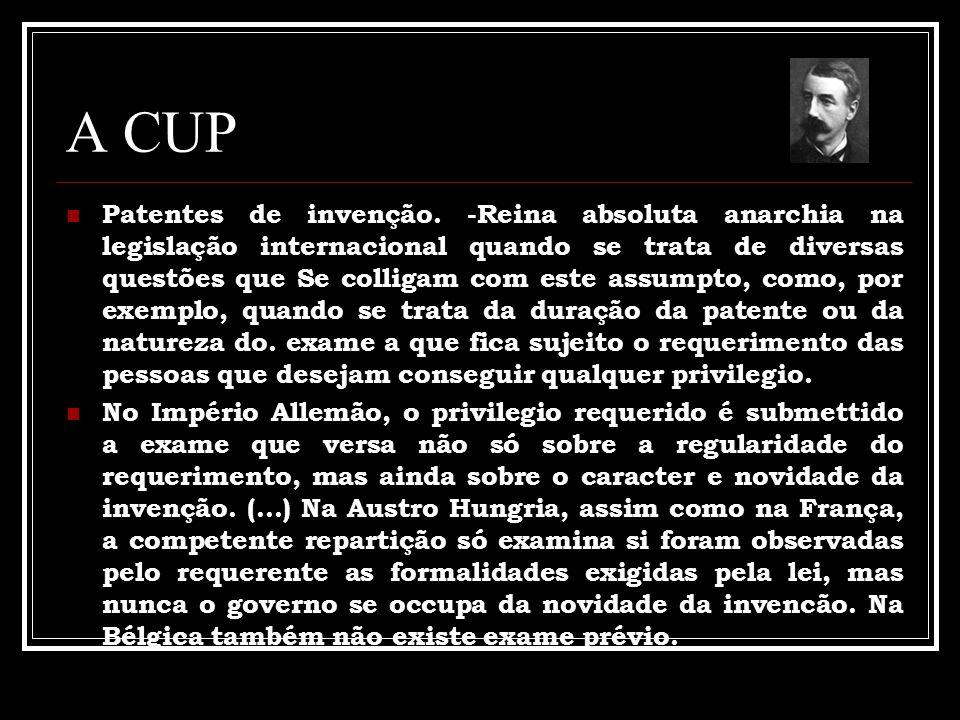 A CUP Patentes de invenção. -Reina absoluta anarchia na legislação internacional quando se trata de diversas questões que Se colligam com este assumpt