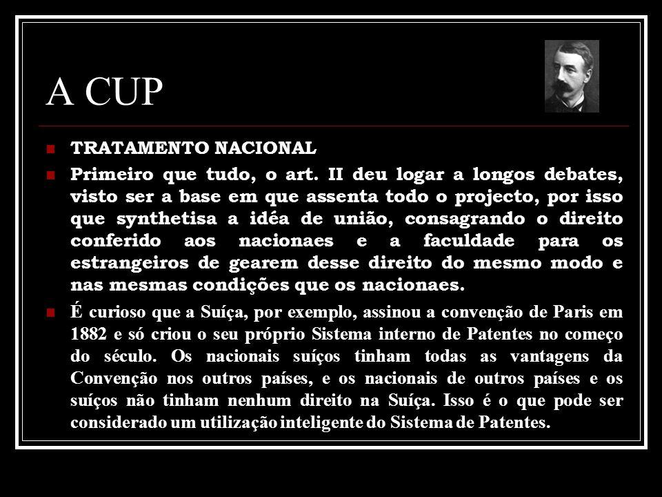 A CUP TRATAMENTO NACIONAL Primeiro que tudo, o art. II deu logar a longos debates, visto ser a base em que assenta todo o projecto, por isso que synth