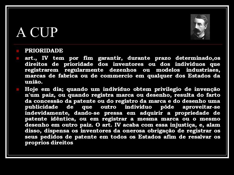 A CUP PRIORIDADE art., IV tem por fim garantir, durante prazo determinado,os direitos de prioridade dos inventores ou dos individuos que registrarem r