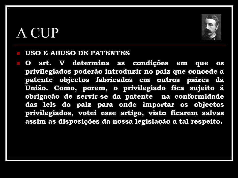 A CUP USO E ABUSO DE PATENTES O art. V determina as condições em que os privilegiados poderão introduzir no paiz que concede a patente objectos fabric