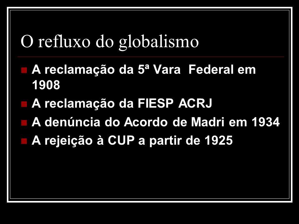 O refluxo do globalismo A reclamação da 5ª Vara Federal em 1908 A reclamação da FIESP ACRJ A denúncia do Acordo de Madri em 1934 A rejeição à CUP a partir de 1925