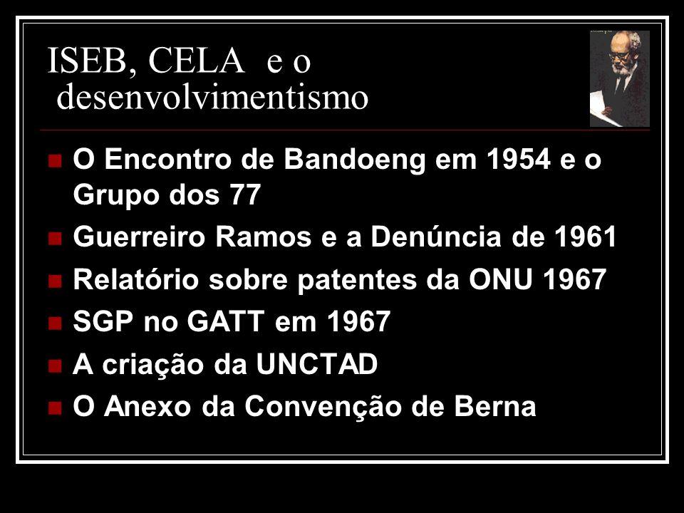 ISEB, CELA e o desenvolvimentismo O Encontro de Bandoeng em 1954 e o Grupo dos 77 Guerreiro Ramos e a Denúncia de 1961 Relatório sobre patentes da ONU 1967 SGP no GATT em 1967 A criação da UNCTAD O Anexo da Convenção de Berna