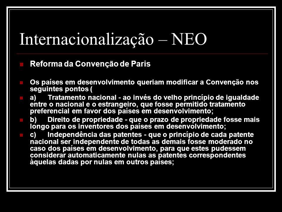Internacionalização – NEO Reforma da Convenção de Paris Os países em desenvolvimento queriam modificar a Convenção nos seguintes pontos ( a)Tratamento