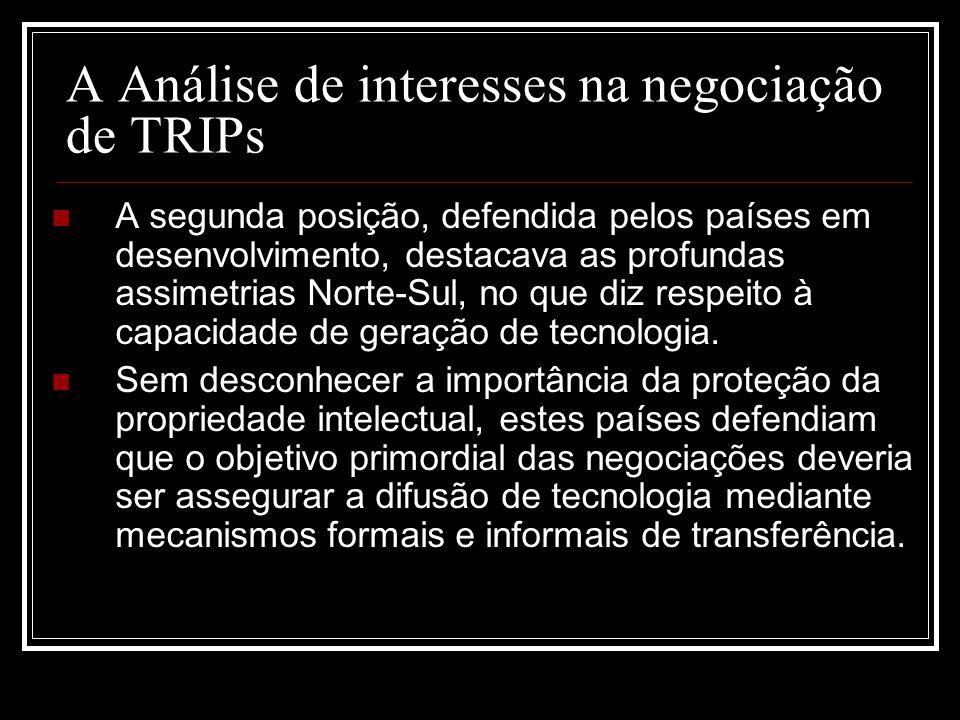 A Análise de interesses na negociação de TRIPs A segunda posição, defendida pelos países em desenvolvimento, destacava as profundas assimetrias Norte-Sul, no que diz respeito à capacidade de geração de tecnologia.