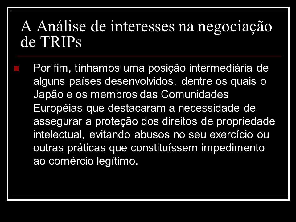 A Análise de interesses na negociação de TRIPs Por fim, tínhamos uma posição intermediária de alguns países desenvolvidos, dentre os quais o Japão e o