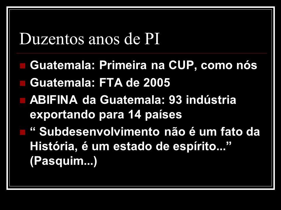 Duzentos anos de PI Guatemala: Primeira na CUP, como nós Guatemala: FTA de 2005 ABIFINA da Guatemala: 93 indústria exportando para 14 países Subdesenvolvimento não é um fato da História, é um estado de espírito...