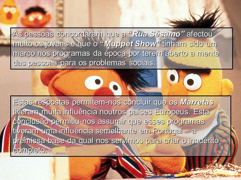 As pessoas concordaram que a Rua Sésamo afectou muito os jovens e que o Muppet Show tinham sido um marco nos programas da época por terem aberto a men