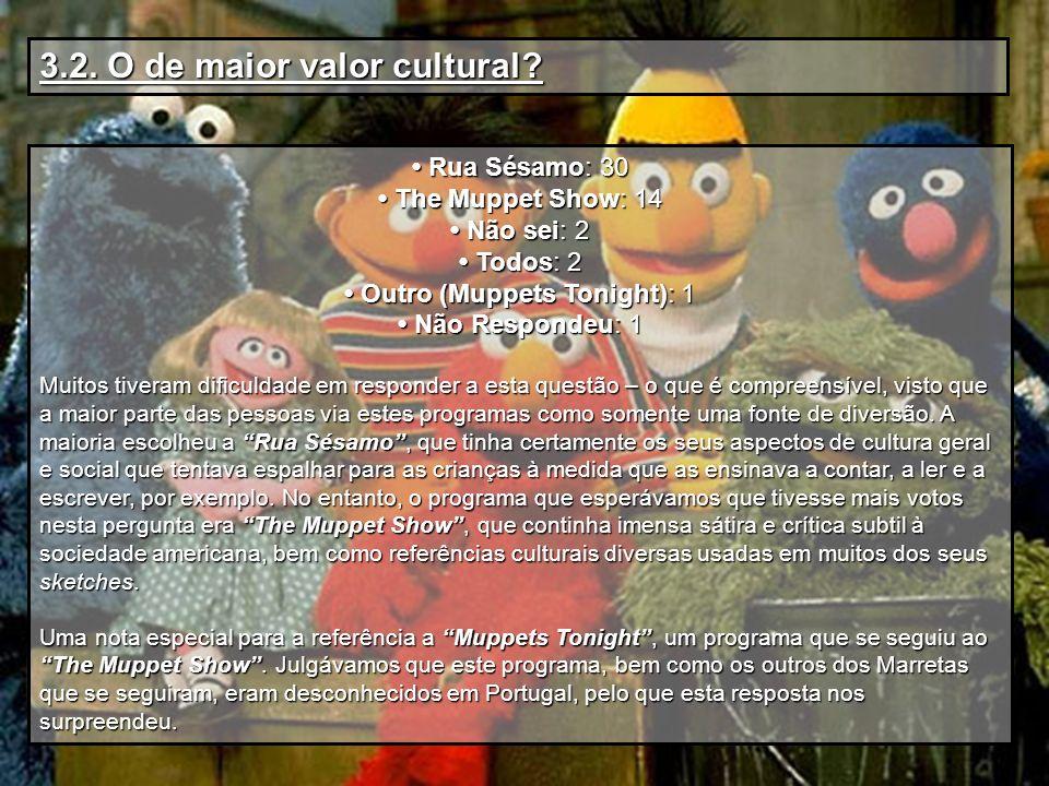 3.2. O de maior valor cultural? Rua Sésamo: 30 Rua Sésamo: 30 The Muppet Show: 14 The Muppet Show: 14 Não sei: 2 Não sei: 2 Todos: 2 Todos: 2 Outro (M