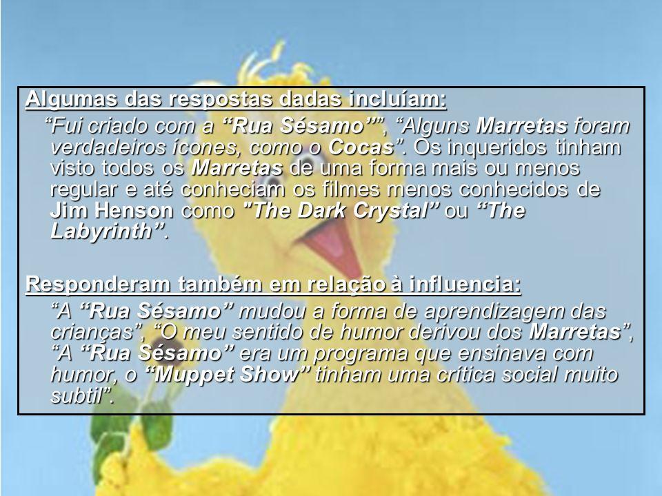 Conclusão Após esta análise, e a análise anterior do pré-inquérito, podemos aperceber-nos de algumas particularidades curiosas: os inquiridos com menos de 20 anos não conheciam ou conheciam vagamente Os Marretas, mas cresceram com a Rua Sésamo; os com mais de 20 anos, pelo contrário, são familiarizados com The Muppet Show e o seu ponto de vista crítico é muito mais esclarecedor e informativo.