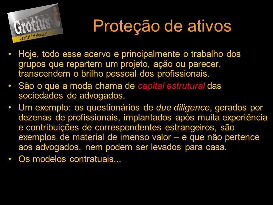 Proteção de ativos Hoje, todo esse acervo e principalmente o trabalho dos grupos que repartem um projeto, ação ou parecer, transcendem o brilho pessoa