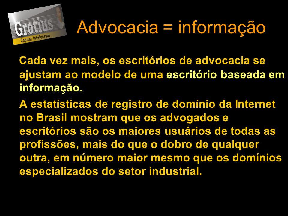 Advocacia = informação Cada vez mais, os escritórios de advocacia se ajustam ao modelo de uma escritório baseada em informação. A estatísticas de regi