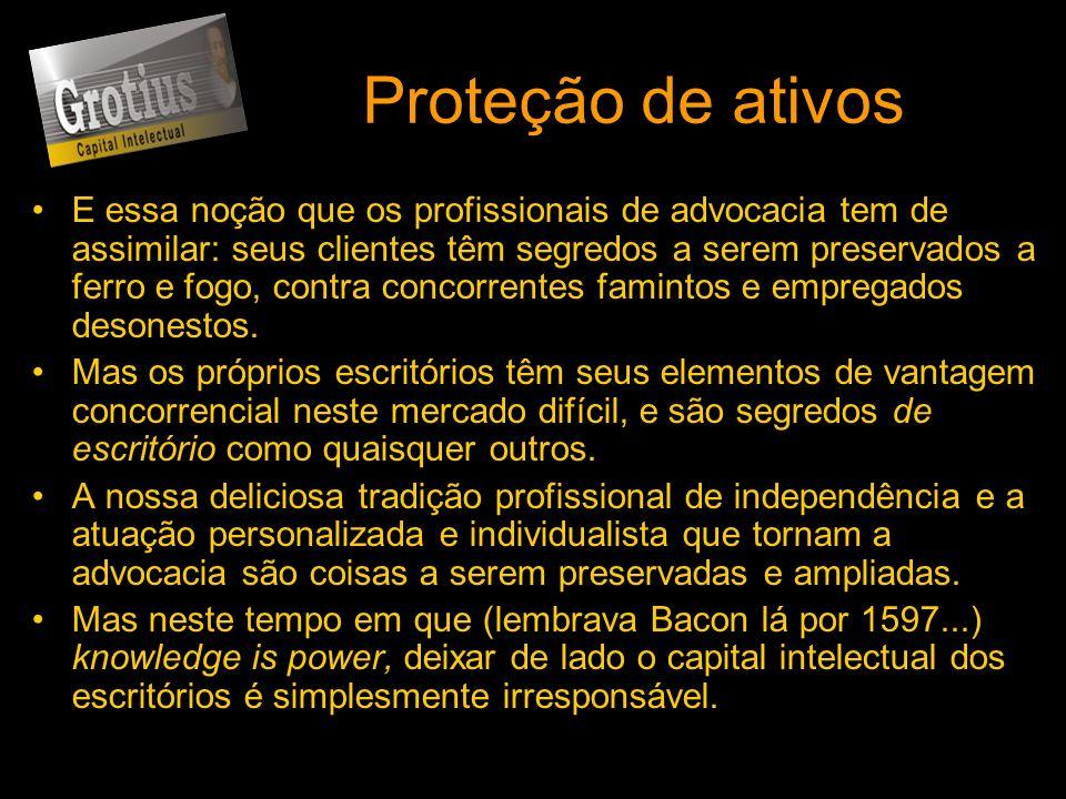 Proteção de ativos E essa noção que os profissionais de advocacia tem de assimilar: seus clientes têm segredos a serem preservados a ferro e fogo, con