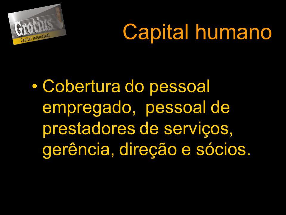 Capital humano Cobertura do pessoal empregado, pessoal de prestadores de serviços, gerência, direção e sócios.