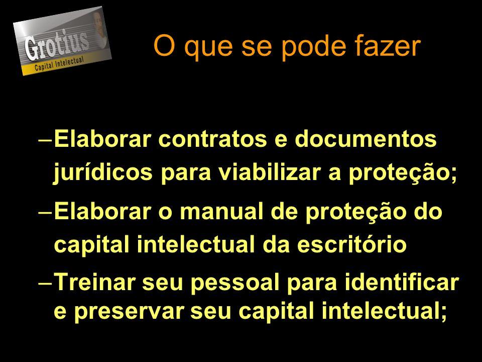 O que se pode fazer –Elaborar contratos e documentos jurídicos para viabilizar a proteção; –Elaborar o manual de proteção do capital intelectual da es