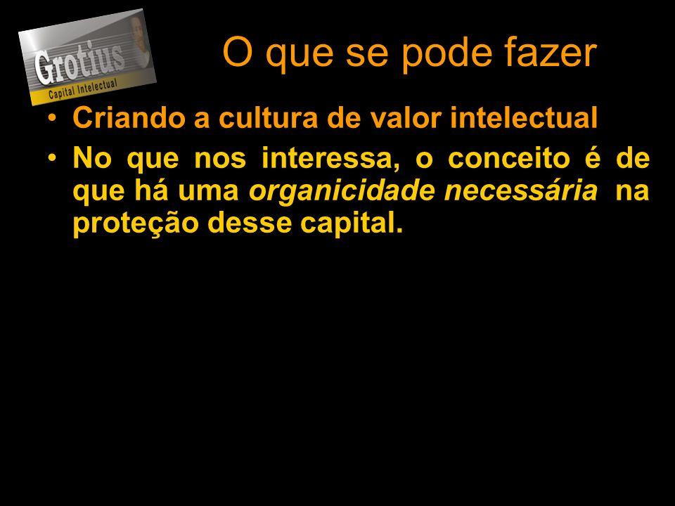 O que se pode fazer Criando a cultura de valor intelectual No que nos interessa, o conceito é de que há uma organicidade necessária na proteção desse