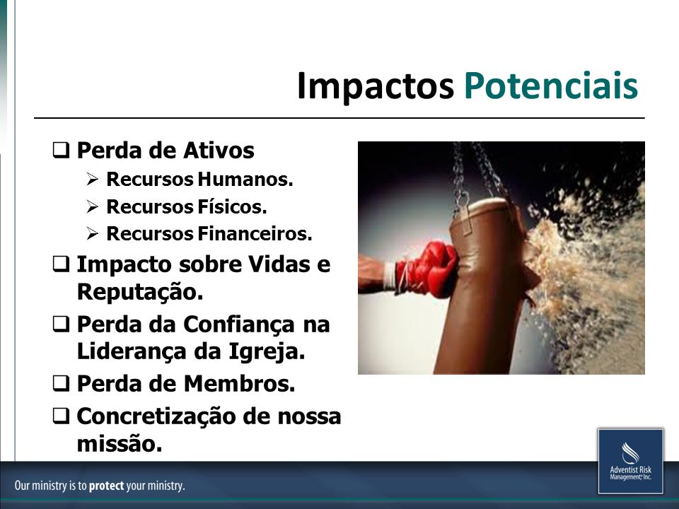 Impactos Potenciais Perda de Ativos Recursos Humanos.