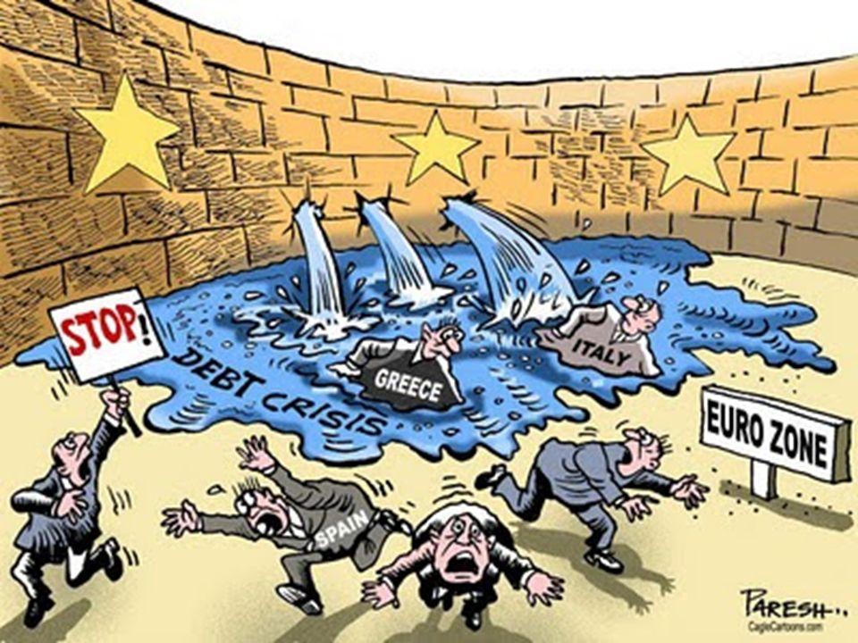 Consequências da crise: - Fuga de capitais de investidores; - Escassez de crédito; -Aumento do desemprego; -Descontentamento popular com medidas de redução de gastos adotadas pelos países como forma de conter a crise; - Diminuição dos ratings (notas dadas por agências de risco) das nações e bancos dos países mais envolvidos na crise;