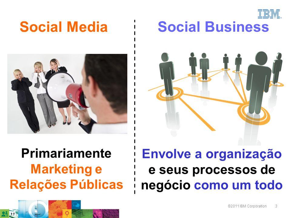3©2011 IBM Corporation Primariamente Marketing e Relações Públicas Envolve a organização e seus processos de negócio como um todo Social Media Social