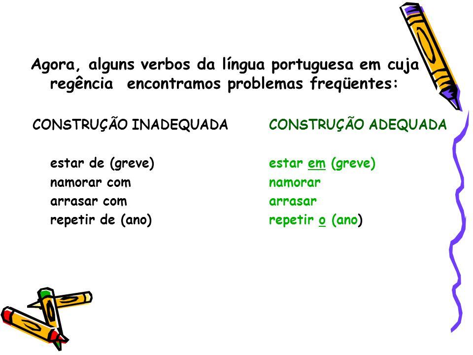 Agora, alguns verbos da língua portuguesa em cuja regência encontramos problemas freqüentes: CONSTRUÇÃO INADEQUADA CONSTRUÇÃO ADEQUADA estar de (greve