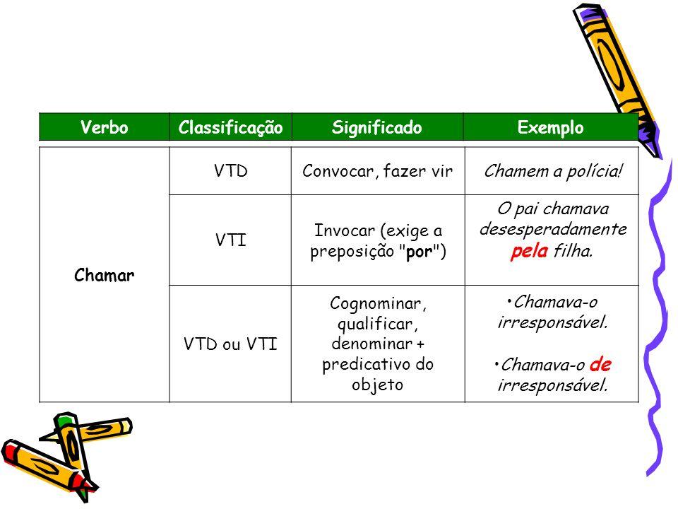 VerboClassificaçãoSignificadoExemplo Chamar VTDConvocar, fazer virChamem a polícia! VTI Invocar (exige a preposição