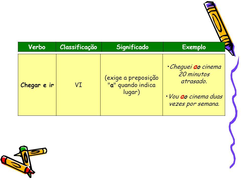 VerboClassificaçãoSignificadoExemplo Chegar e irVI (exige a preposição
