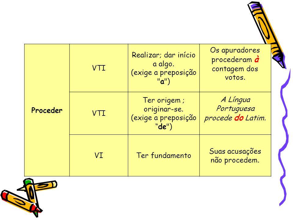 Proceder VTI Realizar; dar início a algo. (exige a preposição