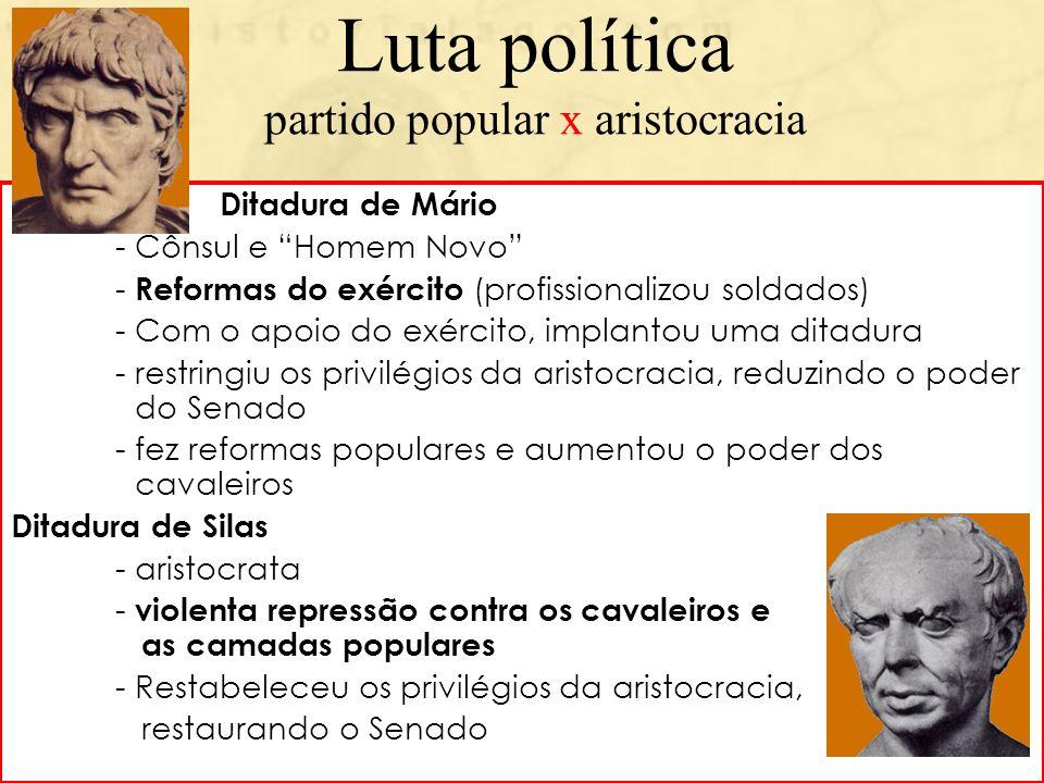 Luta política partido popular x aristocracia Ditadura de Mário - Cônsul e Homem Novo - Reformas do exército (profissionalizou soldados) - Com o apoio