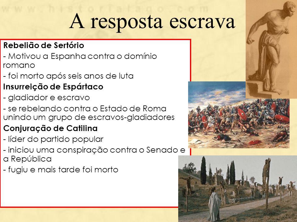 A resposta escrava Rebelião de Sertório - Motivou a Espanha contra o domínio romano - foi morto após seis anos de luta Insurreição de Espártaco - glad