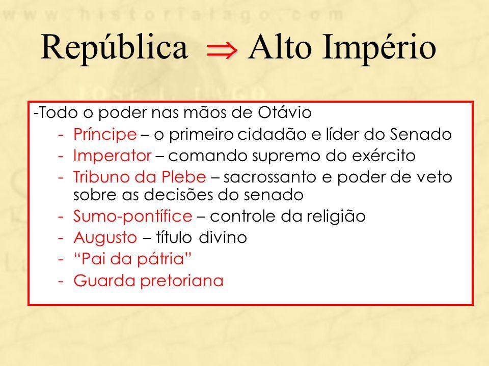 República Alto Império -Todo o poder nas mãos de Otávio -Príncipe – o primeiro cidadão e líder do Senado -Imperator – comando supremo do exército -Tri