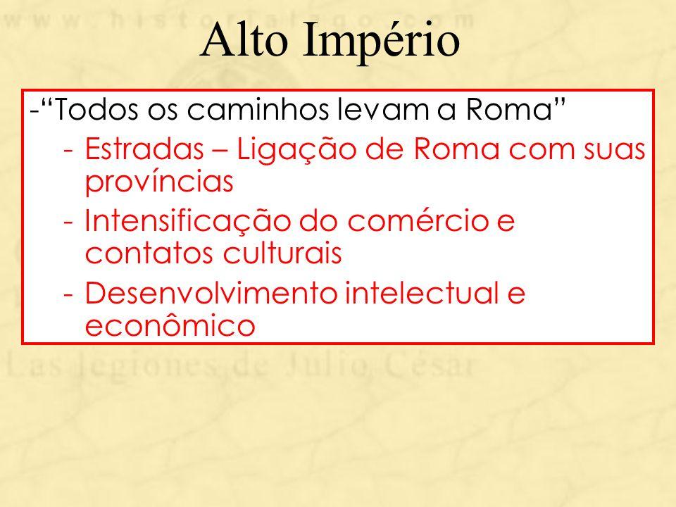 Alto Império -Todos os caminhos levam a Roma -Estradas – Ligação de Roma com suas províncias -Intensificação do comércio e contatos culturais -Desenvo
