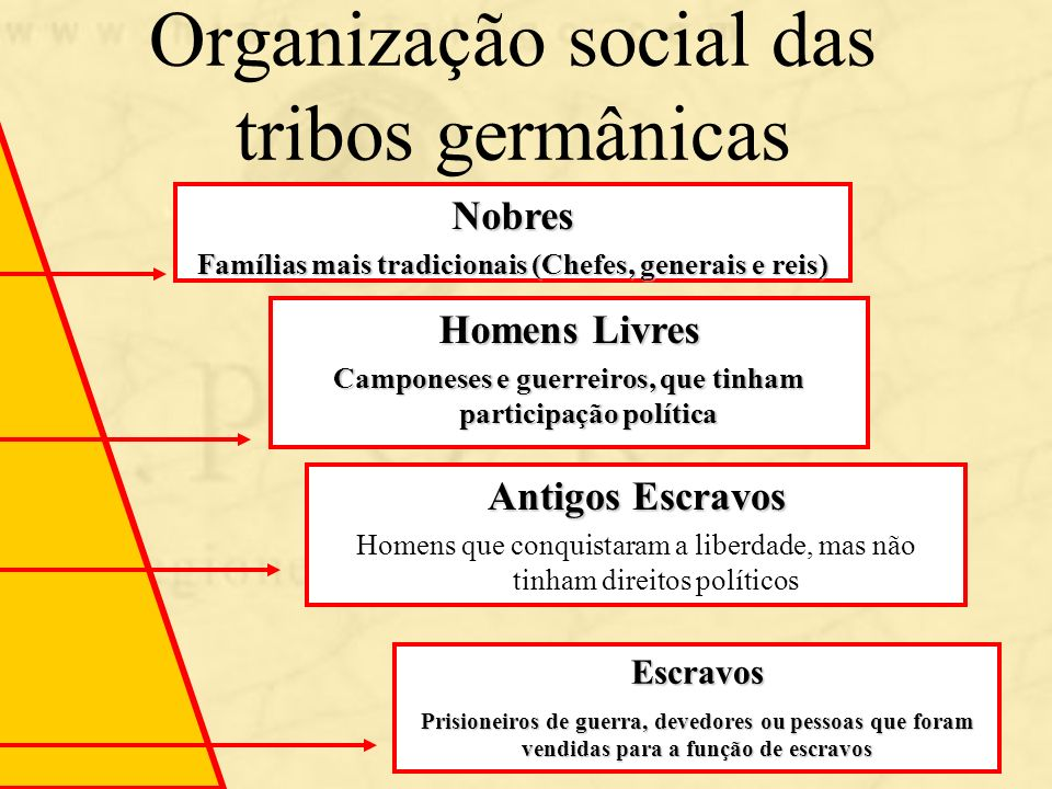 Organização social das tribos germânicas Nobres Famílias mais tradicionais (Chefes, generais e reis) Homens Livres Camponeses e guerreiros, que tinham