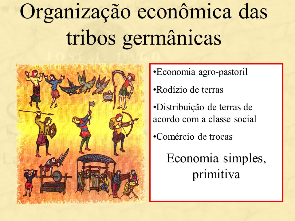 Organização econômica das tribos germânicas Economia agro-pastoril Rodízio de terras Distribuição de terras de acordo com a classe social Comércio de