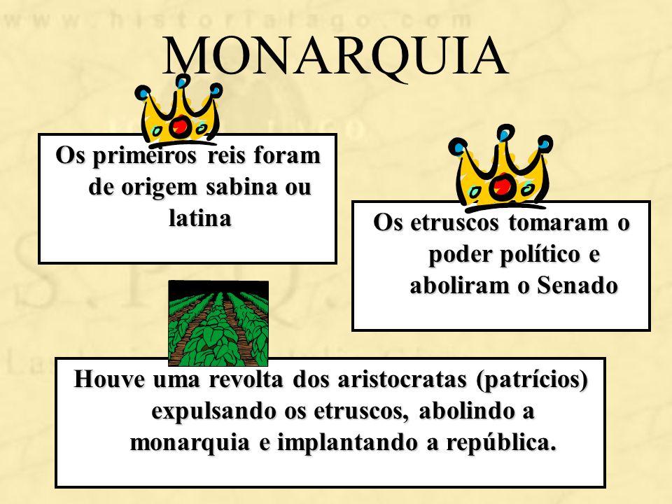 MONARQUIA Os primeiros reis foram de origem sabina ou latina Os etruscos tomaram o poder político e aboliram o Senado Houve uma revolta dos aristocrat