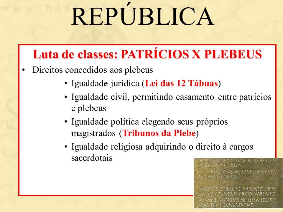 REPÚBLICA Luta de classes: PATRÍCIOS X PLEBEUS Direitos concedidos aos plebeus Igualdade jurídica (Lei das 12 Tábuas) Igualdade civil, permitindo casa