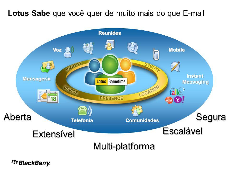 VozMobile Reuniões Aberta Extensível Multi-platforma Segura Escalável Lotus Sabe que você quer de muito mais do que E-mail