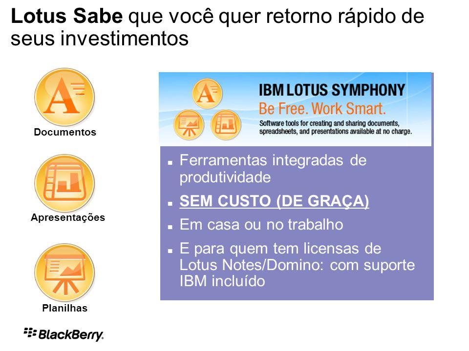 Planilhas Documentos Apresentações Ferramentas integradas de produtividade SEM CUSTO (DE GRAÇA) Em casa ou no trabalho E para quem tem licensas de Lotus Notes/Domino: com suporte IBM incluído IBM Products & Solutions IBM Lotus Symphony Lotus Sabe que você quer retorno rápido de seus investimentos