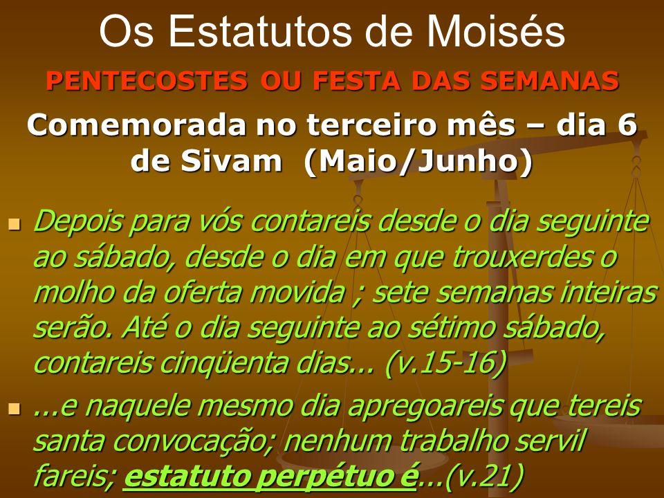 Os Estatutos de Moisés PENTECOSTES OU FESTA DAS SEMANAS Comemorada no terceiro mês – dia 6 de Sivam (Maio/Junho) Depois para vós contareis desde o dia