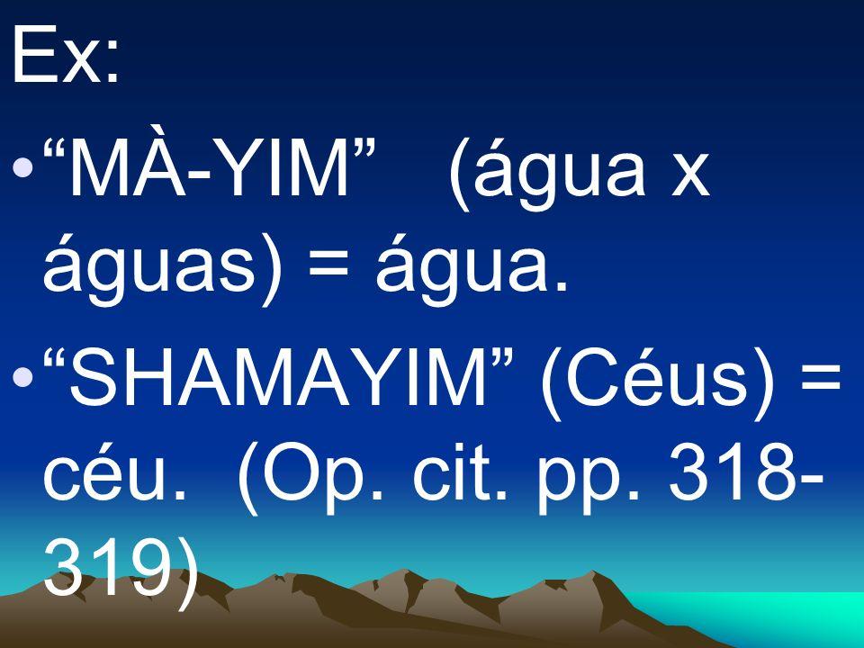 Ex: MÀ-YIM (água x águas) = água. SHAMAYIM (Céus) = céu. (Op. cit. pp. 318- 319)