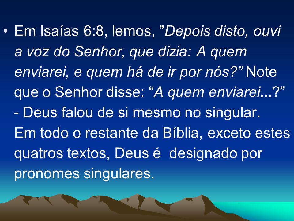 Em Isaías 6:8, lemos, Depois disto, ouvi a voz do Senhor, que dizia: A quem enviarei, e quem há de ir por nós? Note que o Senhor disse: A quem enviare