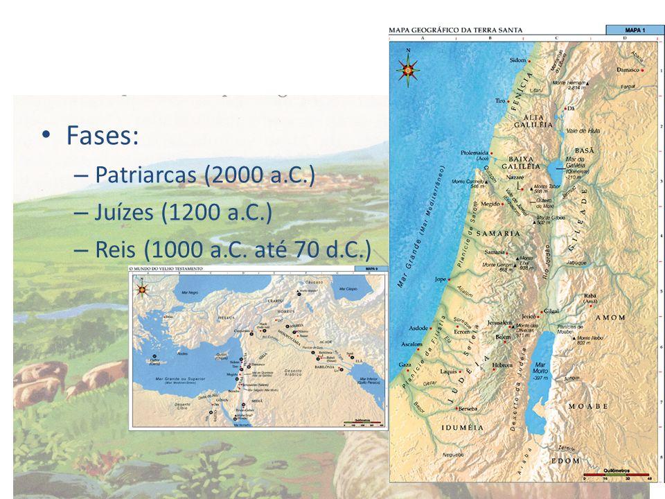 Patriarcas – Abraão – condução dos hebreus para Canaã (Monoteísmo – Iavé); – Isaac; – Jacó – 12 descendentes (12 tribos); – Migração para o Egito (posterior escravização); – Moisés – retirada dos hebreus do Egito (ÊXODO) e recondução à Canaã (40 anos);ÊXODO – 10 mandamentos; – Josué – chegada à Palestina (Jericó).