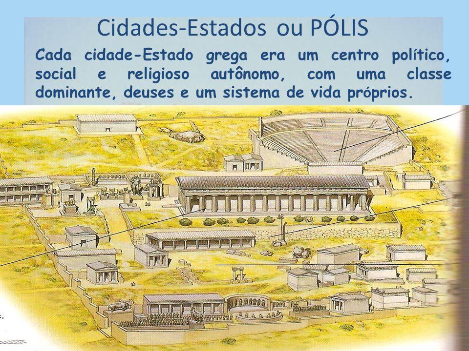 2. PERÍODO CLÁSSICO As cidades-Estados formaram a pólis. Elas tinham algumas características: Cada uma abrigava a cidade em si mais os seus arredores.