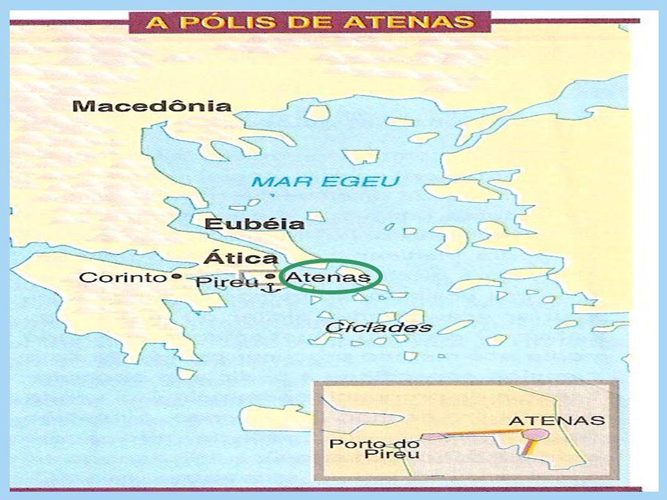 ATENAS Conhecida como a cidade exemplar da Gr é cia Antiga, por sua cultura e prosperidade econômica, Atenas, se desenvolveu na Á tica, região cercada