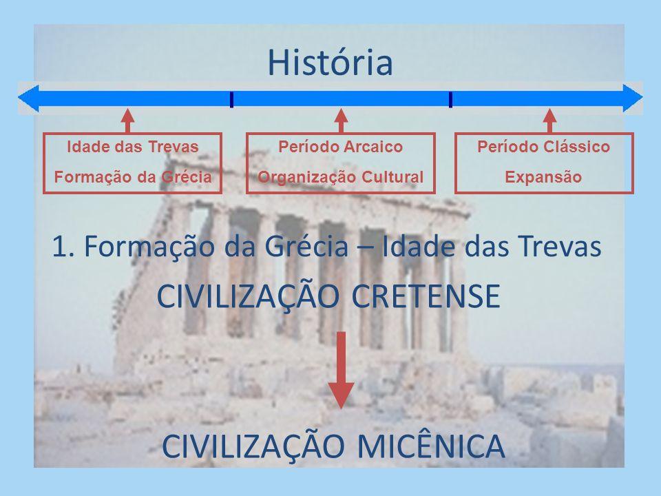 História Idade das Trevas Formação da Grécia Período Arcaico Organização Cultural Período Clássico Expansão 1.