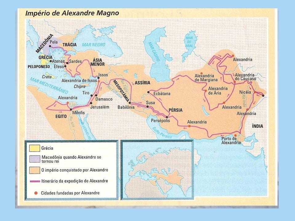 PERÍODO HELENÍSTICO Invasão dos macedônicos União da Grécia por Filipe II e Alexandre, o Grande (Alexandre Magno) Maior império Expansão e respeito às