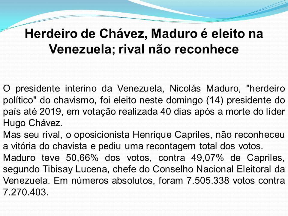 Herdeiro de Chávez, Maduro é eleito na Venezuela; rival não reconhece O presidente interino da Venezuela, Nicolás Maduro,