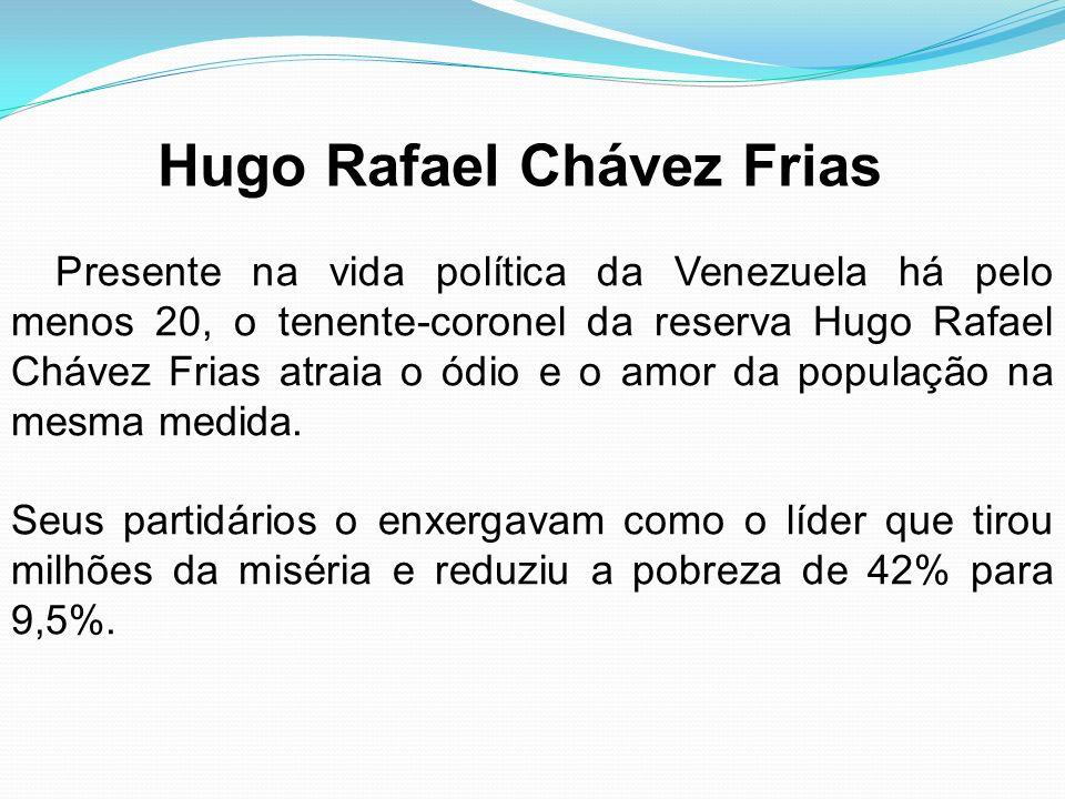 Presente na vida política da Venezuela há pelo menos 20, o tenente-coronel da reserva Hugo Rafael Chávez Frias atraia o ódio e o amor da população na